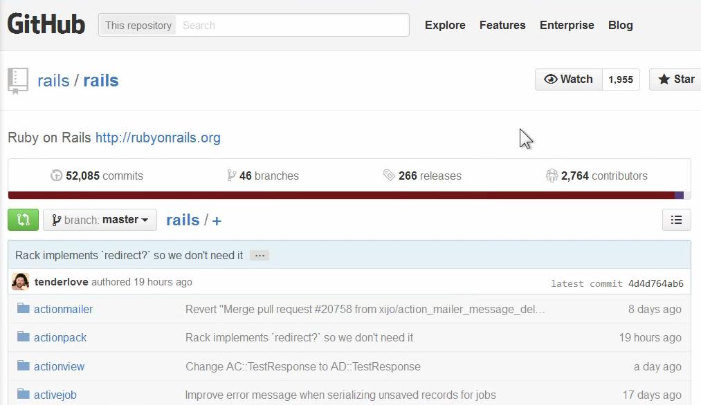 Исходный код фреймворка rails на github.com