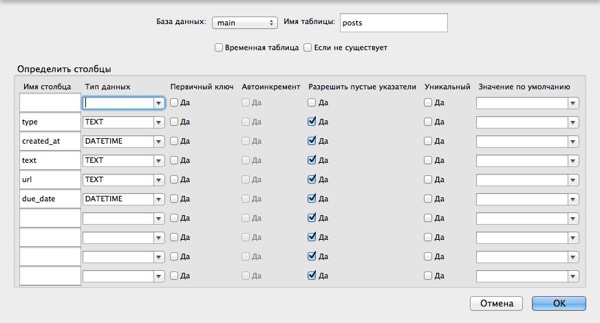 Создание БД для блокнота в SQLITE Manager