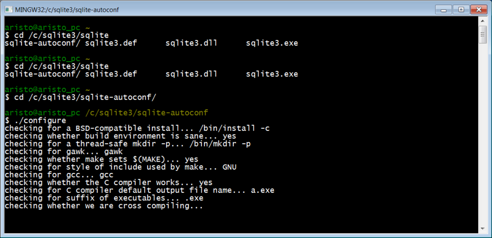 Установка SQLITE для Windows